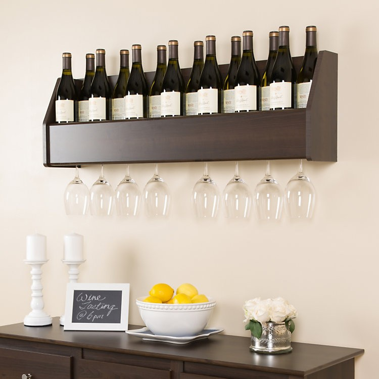 Wall Mounted Wood Floating Wine Rack With Glass Holder In